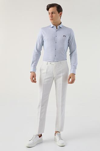 Ds Damat Slim Fit Beyaz Çizgili Keten Kumaş Pantolon - 8682445337273 | D'S Damat