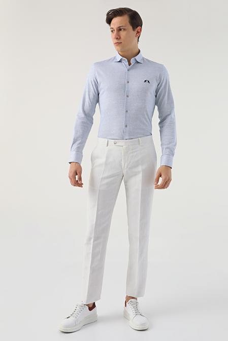 Ds Damat Slim Fit Beyaz Çizgili Keten Kumaş Pantolon - 8682445337273   D'S Damat
