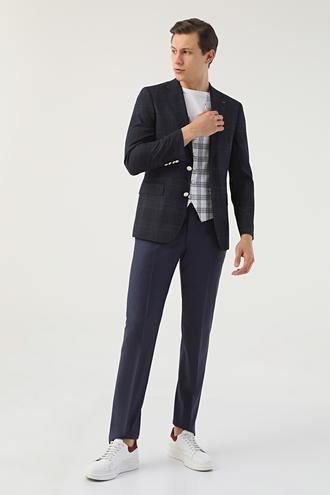 Ds Damat Slim Fit Lacivert Ekoseli Kombinli Takım Elbise - 8681778129128   D'S Damat