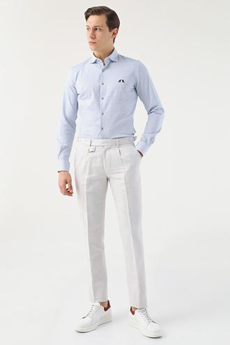 Ds Damat Slim Fit Bej Armürlü Keten Chino Pantolon - 8681779003359 | D'S Damat