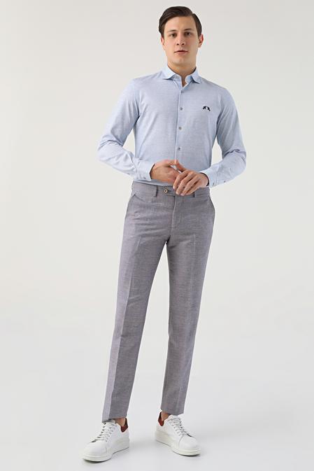 Ds Damat Slim Fit Bordo Düz Keten Kumaş Pantolon - 8681778947074   D'S Damat