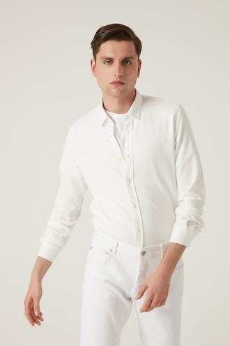 Tween Slim Fit Beyaz Baskılı Örme Gömlek - 8682364653041 | Damat Tween