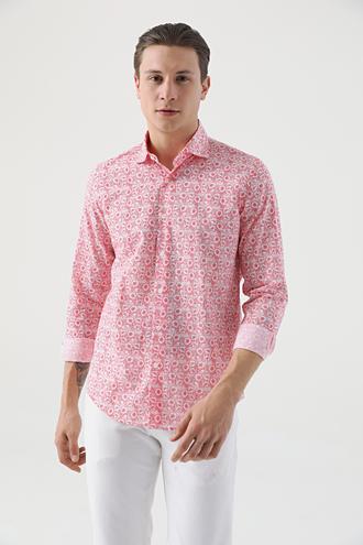Ds Damat Slim Fit Kırmızı Baskılı Gömlek - 8682445291551 | D'S Damat
