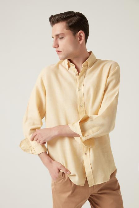Damat Comfort Sarı Düz Gömlek - 8682364483099 | Damat Tween