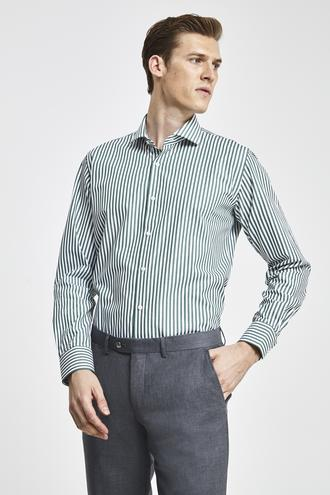 Damat Slim Fit Yeşil Çizgili Gömlek - 8682364488483 | Damat Tween
