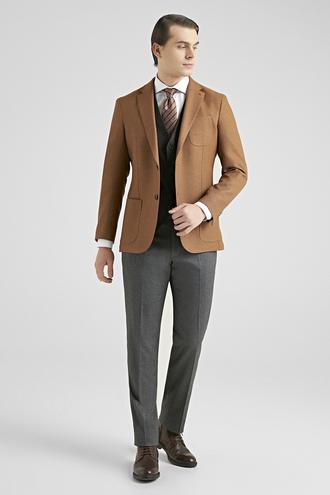 Ds Damat Slim Fit Camel Düz Kombinli Takım Elbise - 8682060575210 | D'S Damat
