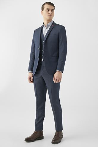 Twn Slim Fit Lacivert Armürlü Yelekli Takım Elbise - 8682445100334 | D'S Damat