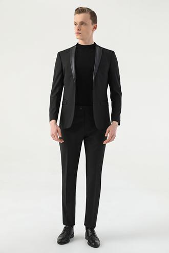 Tween Slim Fit Siyah Düz Takım Elbise - 8681649664345 | Damat Tween