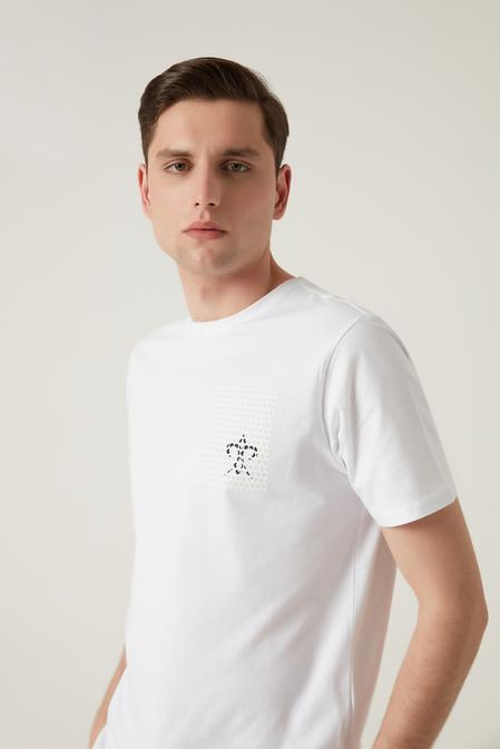 Damat Beyaz Çizgili Baskılı T-shirt - 8682364584208 | Damat Tween
