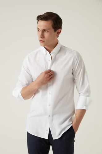 Damat Slim Fit Beyaz Düz Yaka İğneli Gömlek - 8682364482979 | Damat Tween