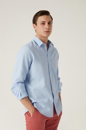 Damat Comfort Mavi Gömlek - 8682364632428 | Damat Tween