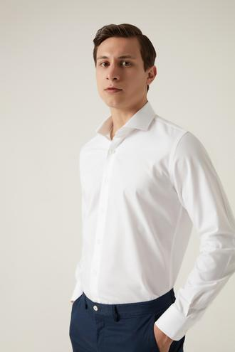 Damat Slim Fit Beyaz Desenli Travel Gömlek - 8682364532407 | Damat Tween