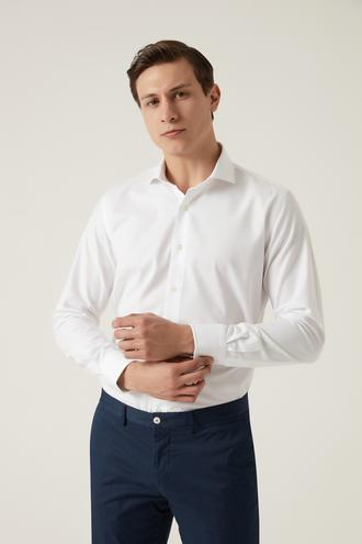 Damat Slim Fit Beyaz Desenli Travel Gömlek - 8682364649457 | Damat Tween