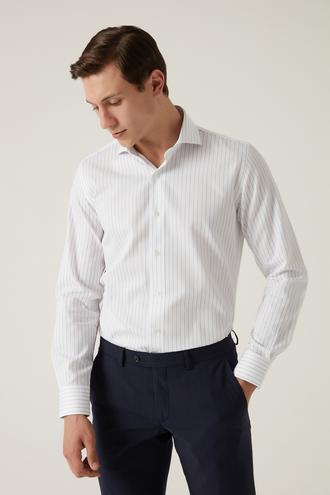 Damat Slim Fit Beyaz Çizgili Gömlek - 8682364532575 | Damat Tween