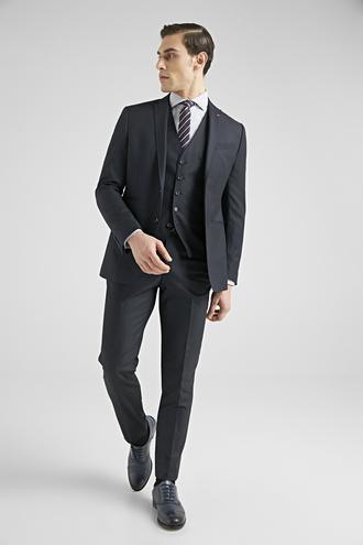 Twn Slim Fit Lacivert Düz Yelekli Takım Elbise - 8682445303575 | D'S Damat