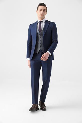 Ds Damat Slim Fit Lacivert Armürlü Kombinli Takım Elbise - 8682445180794 | D'S Damat