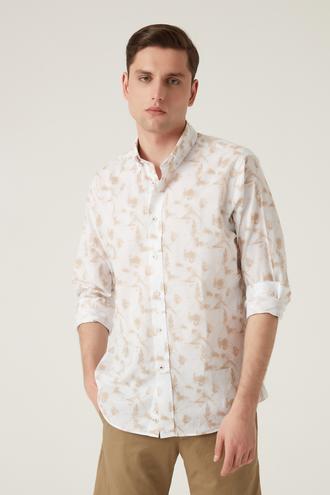 Damat Comfort Bej Baskılı Gömlek - 8682364483457 | Damat Tween
