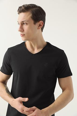 Twn Slim Fit Siyah Düz T-shirt - 8682445061604 | D'S Damat