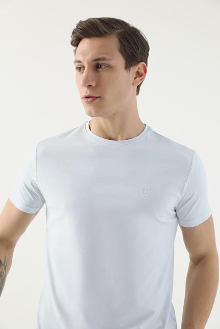 Twn Slim Fit Mavi Düz T-shirt - 8682445165029 | D'S Damat