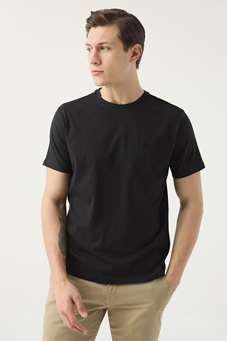 Ds Damat Regular Fit Siyah Düz T-shirt - 8682445165678   D'S Damat