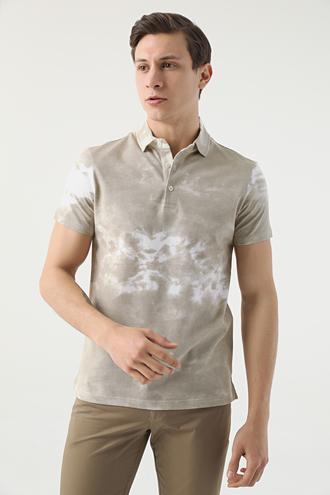 Twn Slim Fit Bej Baskılı T-shirt - 8682060945273   D'S Damat