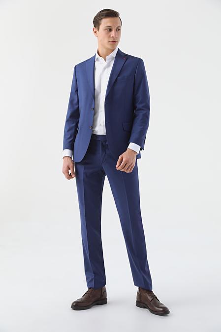 Ds Damat Comfort Saks Mavi Düz Takım Elbise - 8682445051216 | D'S Damat