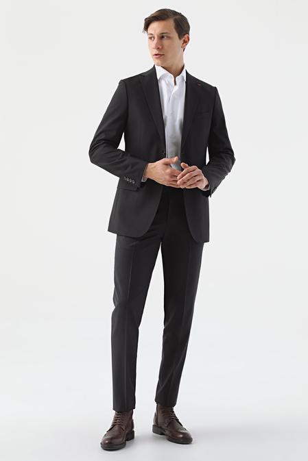 Ds Damat Regular Fit Siyah Düz Travel Takım Elbise - 8682445052299   D'S Damat