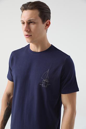 Damat Lacivert Baskılı T-shirt - 8682364814114   Damat Tween