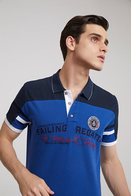 Ds Damat Regular Fit Saks Mavi Baskılı T-shirt - 8681779340645 | D'S Damat