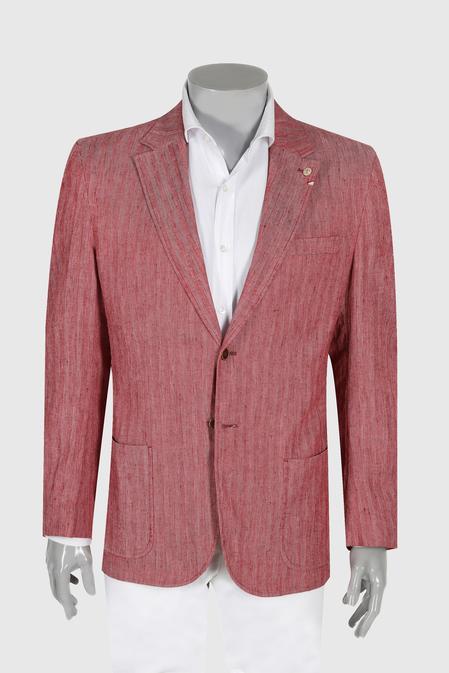 Damat Regular Fit Kırmızı Balıksırtı Kumaş Ceket - 8681649544197 | Damat Tween