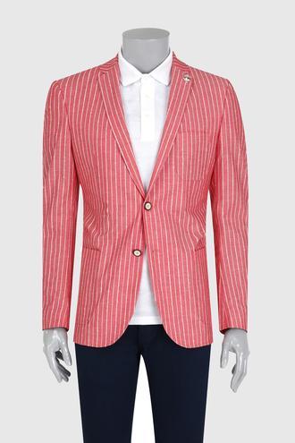 Tween Slim Fit Kırmızı Çizgili Kumaş Ceket - 8681649508267   Damat Tween