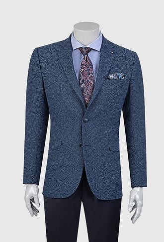 Tween Slim Fit Mavi Desenli Kumaş Ceket - 8681649250333 | D'S Damat