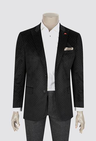 Twn Slim Fit Siyah Desenli Kumaş Ceket - 8681494991900 | D'S Damat