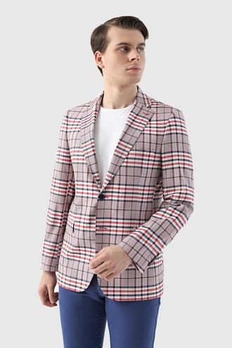 Ds Damat Slim Fit Kırmızı Kareli Kumaş Ceket - 8681778947166 | D'S Damat
