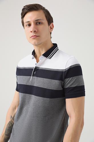 Ds Damat Regular Fit Gri Çizgi Desenli T-shirt - 8681779320524 | D'S Damat