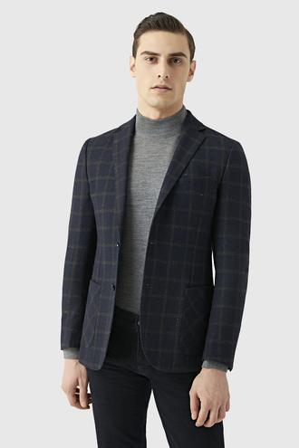 Tween Slim Fit Lacivert Desenli Kumaş Ceket - 8681649300984 | D'S Damat
