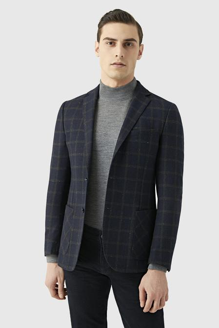 Tween Slim Fit Lacivert Desenli Kumaş Ceket - 8681649300984   D'S Damat
