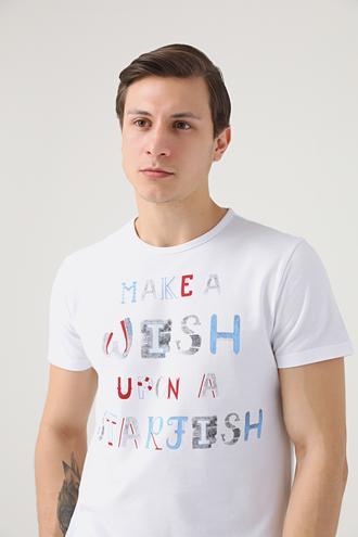 Ds Damat Regular Fit Beyaz Baskılı T-shirt - 8681779113911 | D'S Damat