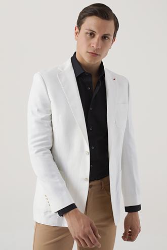 Ds Damat Slim Fit Beyaz Armürlü Kumaş Ceket - 8681779319009 | D'S Damat