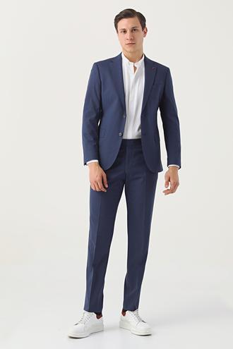 Ds Damat Slim Fit Lacivert Düz Travel Takım Elbise - 8682445089769 | D'S Damat