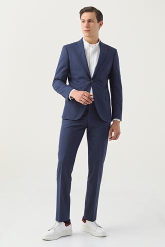 Ds Damat Slim Fit Lacivert Düz Travel Takım Elbise - 8682060652317 | D'S Damat
