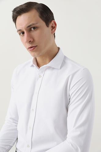 Twn Slim Fit Beyaz Armürlü Gömlek - 8682445082814 | D'S Damat
