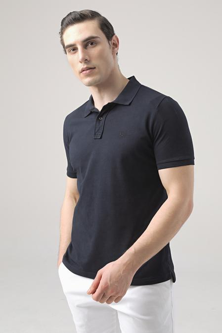 Ds Damat Regular Fit Lacivert Pike Dokulu T-shirt - 8682445032956 | D'S Damat