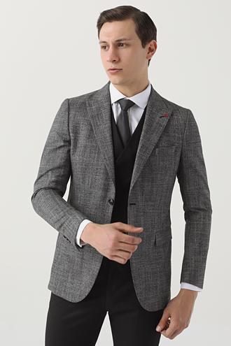 Twn Slim Fit Antrasit Armürlü Kombinli Takım Elbise - 8681779892502   D'S Damat