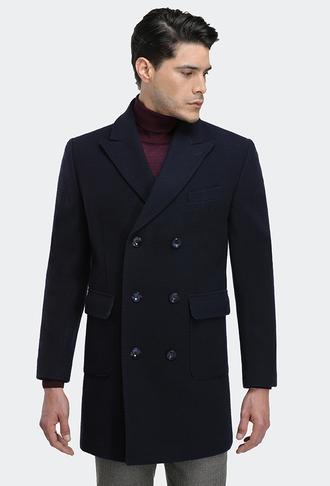 Ds Damat Regular Fit Lacivert Palto - 8681779480624 | D'S Damat