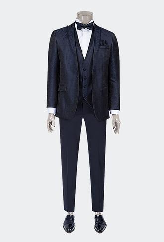Ds Damat Slim Fit Lacivert Desenli Smokin Yelekli Takım Elbise - 8681778236673 | D'S Damat