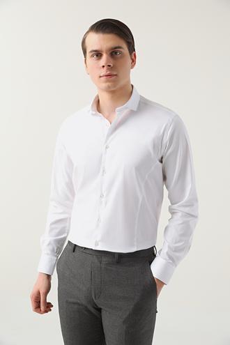 Twn Slim Fit Beyaz Düz Gömlek - 8682445086294   D'S Damat
