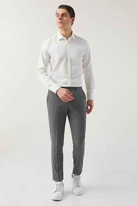 Twn Slim Fit Gri Kaz Ayağı Kumaş Pantolon - 8682445173147 | D'S Damat