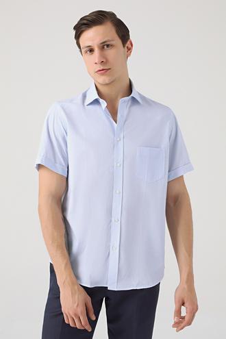 Ds Damat Regular Fit Mavi Armürlü Gömlek - 8682445311716   D'S Damat