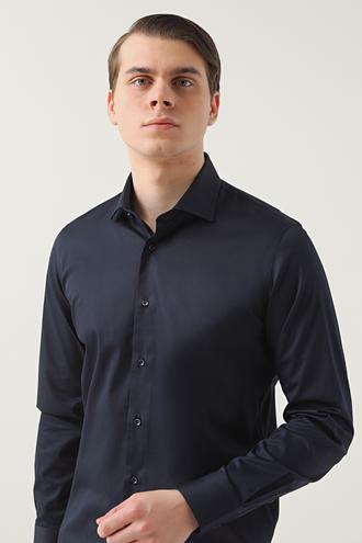 Ds Damat Slim Fit Lacivert Düz Gömlek - 8682445069112 | D'S Damat